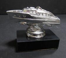 50's inboard engine cabin cruiser boat ship on a marble base sanded aluminum USA