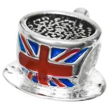 Sterling Silver UK British Flag Cup Tea Enamel Bead For European Charm Bracelets