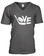 Love Hockey Stick Puck Ice Play Skate Slapshot Team Goal To Men's V-Neck T-Shirt