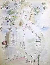 "PHILIPPE HENRI NOYER Signed 1963 Original Watercolor - ""Le foulard rose"""