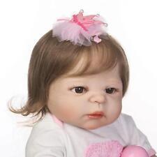 "Baby Girl 22"" Full Body Vinyl Silicone Reborn Doll Lifelike Newborn Handmade"