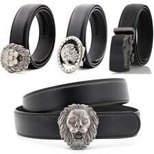 Men's Genuine Black Leather Adjustable Automatic Buckle Ratchet Belt