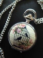 Vintage Style Antique Silver Floral Birdcage Bird Cage Pocket Fob Watch Necklace