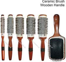 Spazzola Tonda Capelli in Ceramica Manico in Legno Head Jog Hair Tools tutti i tipi immagazzinato