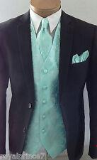 20HH Aqua Green XS to 6XL Paisley Dress Vest Waistcoat & Neck tie Hanky Men's