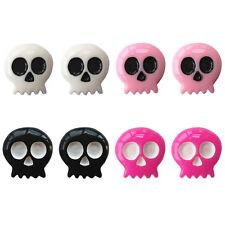 Set of 4 Pairs MINI Pacmac Skull Stud Earrings Twinkle Trove KIDS Halloween