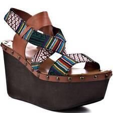 Joe's Jeans Trixie Cognac Com Wedge Sandal Shoes Bohemian Studs Brown Platform