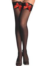 2 Paar sexy halterlose Strümpfe schwarz mit rot Schleife Straps Strümpfe