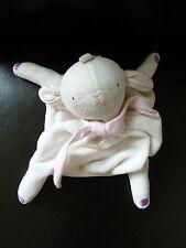 5- DOUDOU PLAT ABSORBA Les bébés sont comme çà MOUTON AGNEAU BLANC foulard rose