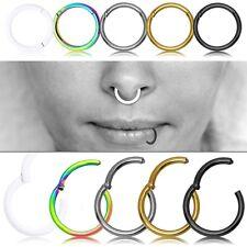 In acciaio inox setto segmento Piercing Naso Anello Labbra Orecchio cerniera Clicker Set