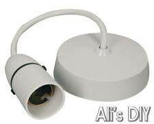 "Ceiling Rose Light Pendant Fitting Set | 6"" Drop 3"" Wide White Base Bulb Holder"