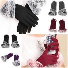Fashion Women Cashmere Blend Gloves Fur Lined Winter Warm Touch Screen Mittens G