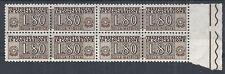 1955-81 ITALIA PACCHI IN CONCESSIONE STELLE 80 LIRE QUARTINA MNH ** - RR10337-2