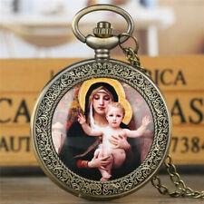 Jesus Design Quartz Pocket Watch Necklace Silver Bronze Retro Virgin Mary and