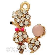 Poodle Wholesale Gold Plated Enamel Pink Rhinestone Charms C0282 - 3PCs Or 5PCs