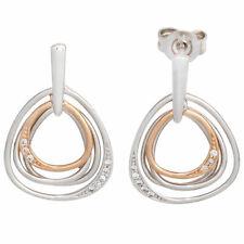 Ohrhänger bicolor 16 Diamanten Ohrringe 585 Weißgold Rotgold Ohrstecker 42131