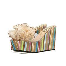Sandalias elegantes zuecos cuña 12 zapatillas oro cómodo como piel 9876