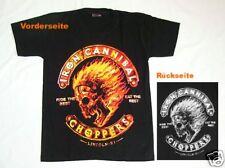 Biker T-Shirt Cannibal Choppers,Gr. S,Totenkopf+Flammen, Gothic Skull Punk