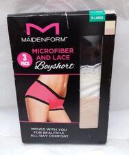 Pack of 3 Maidenform Microfiber & Lace Boyshorts - Black, Beige, Cream