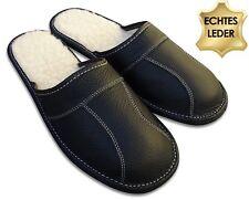 Herren LEDER Hausschuhe Pantoffeln schwarz, gefüttert mit Lammwolle  Gr. 40 - 48