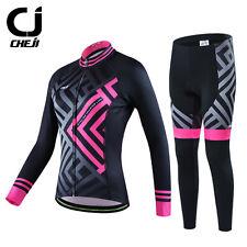 Thermal CHEJI Winter Ladies Fleece Cycling Long Kit Road Bike Jersey & Trousers