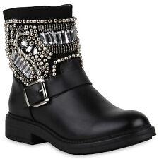 Damen Stiefeletten Leicht Gefütterte Stiefel Biker Boots Strass 818858 Schuhe