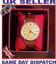 Luxury Gold Unisex watch Geneva Leather Brown or Black Strap Quartz Present Box