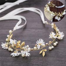 Blumen Blume Stirnband mit Band Kranz Hochzeit Brautjungfer Haarband ~ garl CEX
