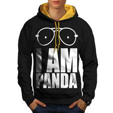 Panda Saying Funny Slogan Men Contrast Hoodie NEW | Wellcoda