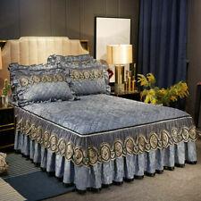 European Quilted Velvet Bedspread Set King Zipper Lace Ruffled Bed Skirt Sheets
