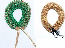 Indian Women Bridal Artificial Hair Accessories Flower Gajra Green & Gold