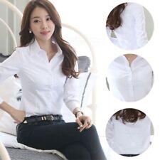 Women Grils Short/Long Sleeve Turn-down Collar Blouse Tops Button Down OL Shirt