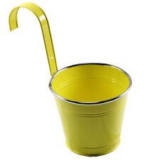 Blumentopf Topf Henkel Hängend Balkon Geländer Metall Übertopf grün orange weiß