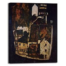 Schiele città sul fiume blu design quadro stampa tela dipinto telaio arredo casa