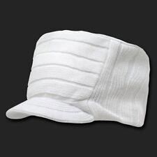 White Plain Knit Flat Top Visor Cap Hat GI Military Army Cadet Jeep Beanie Hats