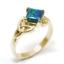 Celtic Trinity Knot Ring 9ct Gold 1.25ct Princess Cut Galaxy Opal (OP13)