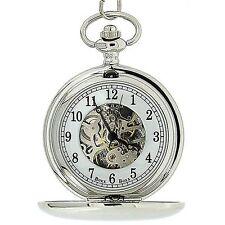"""BoxX Para Hombre Plata Tono Esqueleto Mecánica Reloj de bolsillo de 12 """"Cadena boxx244"""