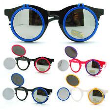Novelty High Fashion Double Flip Up Perfect Circle Round Sunglasses