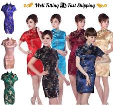 Silky Qipao Chinese New Year Women's Evening Cheongsam Traditional Costume Dress