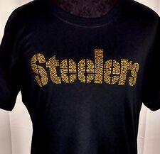 Women's Pittsburgh Steelers Rhinestone Football T-Shirt Tee Bling Ladies