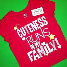"""NEW! """"CUTENESS Runs in FAMILY"""" """"GIRLS ROCK"""" Shirt 6-9 12 18 24 Months 2T 3T Gift"""