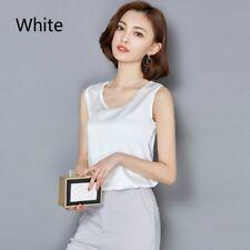 Lady Faux Silk Vest Plain Satin Camisole Sleeveless Blouse Shirt Tank Top Solid