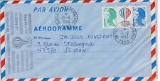 LETTRE AEROGRAMME PAR AVION BUREAUX TEMPORAIRES PARIS / SEVRAN 1983