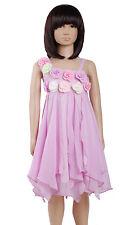 Nuevo Chica Lila Vestido De Fiesta Con Flores 7-8 Años