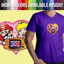Nintendo Game Boy Mario Princess Peach Love Heart Cute Mens Tee V-Neck T-Shirt