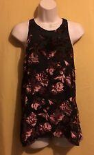 Adiva ladies black keyhole rose brown evening dress top velvet rose M L $78