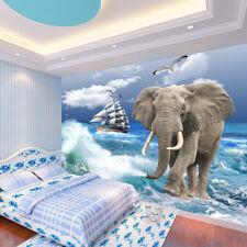 3D Eléphant 64 Photo Papier Peint en Autocollant Murale Plafond Chambre Art