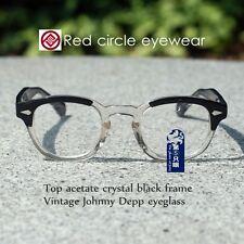 Vintage Johnny Depp eyeglass frame mens crystal black acetate RX optical eyewear