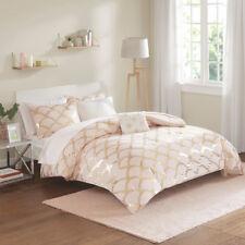 New Chic Metallic Blush Gold Geometric 8 pcs Queen Full Comforter Sheets Set