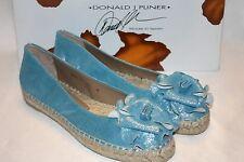 NEW! NIB! for Donald J Pliner MARIA Lagoon Silver Ballet Flat Espadrille $198